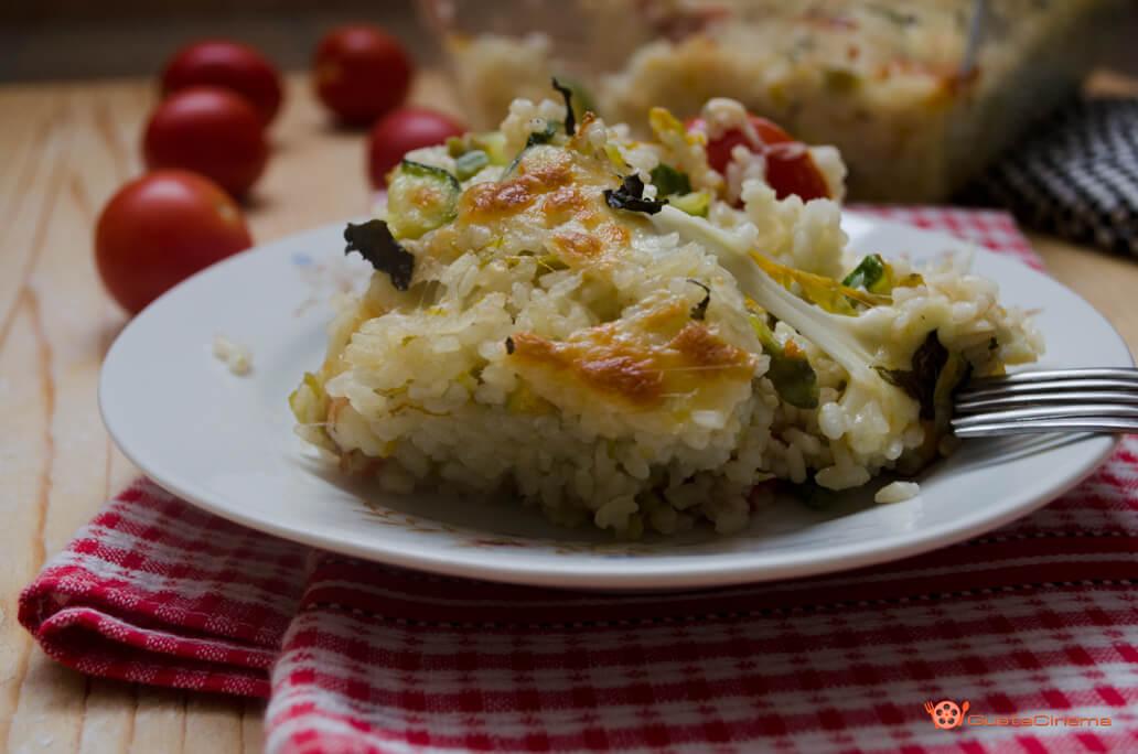 pasticcio di riso zucchine e pomodoro