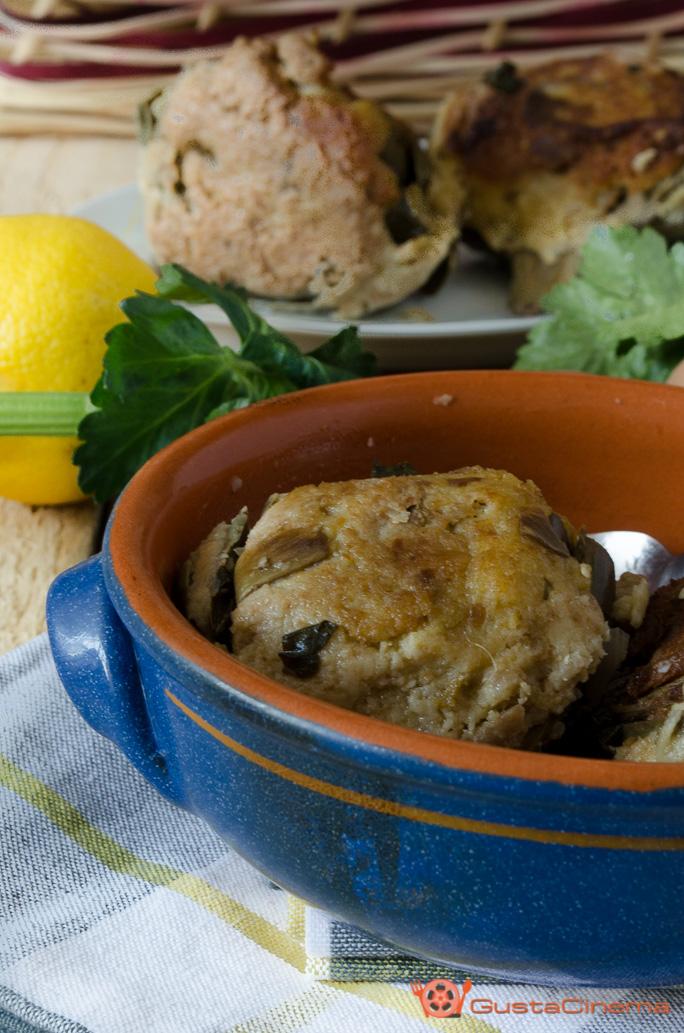 Carciofi ripieni con pane raffermo in umido