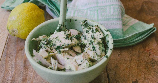 pollo in salsa verde alla menta e limone