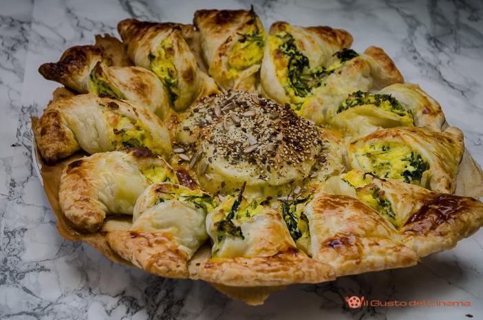 Torta salata girasole con cicoria e ricotta