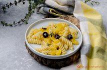 Pasta zucca e olive nere