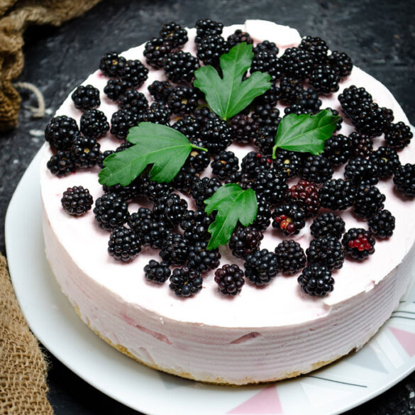 Torta fredda allo yogurt con more e lamponi